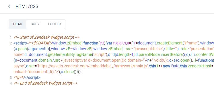 Zendesk live chat widget
