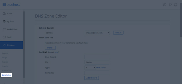 Select the Zone Editor in the Domains section