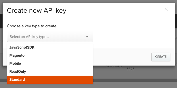 Selecting a standard API key type