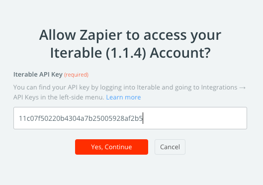 Allowing Zapier to access your Iterable account